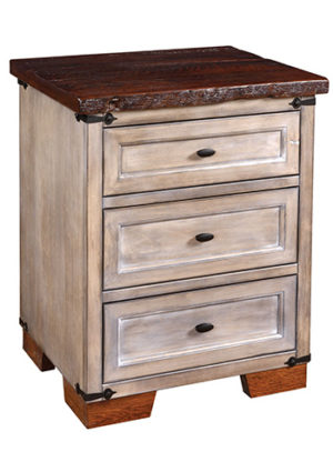 Farmhouse Three Drawer Nightstand
